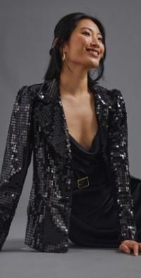 Anna Sui Midnight Sequin Blazer
