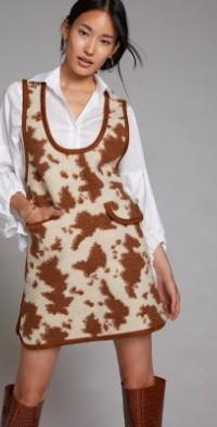 Faux Cowhide Pinafore Mini Dress