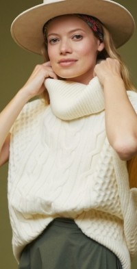 Cable-Knit Turtleneck Poncho Sweater