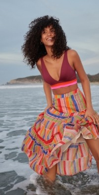 Farm Rio Alena Stripes Maxi Skirt