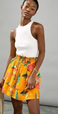 Farm Rio Savana Tiered Mini Skirt