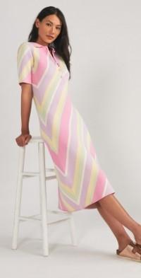 Pastel Striped Polo Midi Dress