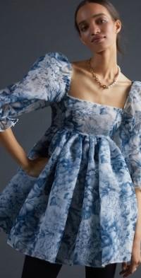 Toile Puff-Sleeved Mini Dress