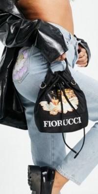 Fiorucci cross-body mini pouch bag with angel graphic-Black
