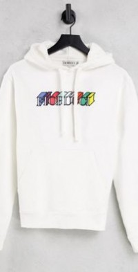 Fiorucci relaxed hoodie with graphic front logo-White