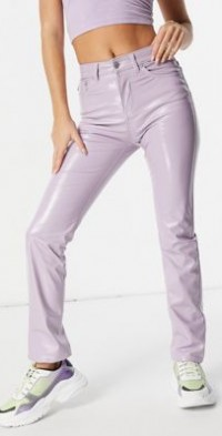 Fiorucci skinny jeans in lilac vinyl-Purple