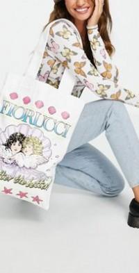 Fiorucci tote bag with seashell angel print-White
