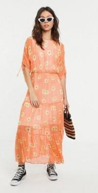 Ghost check and daisy print high neck midi dress-Orange