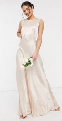 Ghost London bridesmaid satin maxi dress in oyster-Pink