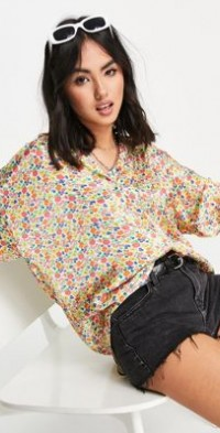 Ghost Lucy short sleeved satin shirt in ditsy floral print-Multi