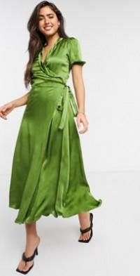 Ghost Opal wrap midi dress in olive green