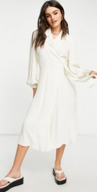 Ghost Tansy long sleeve dress in ivory-White