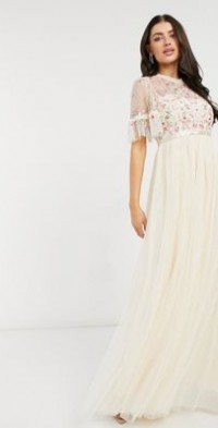 Needle & Thread embellished tiered sleeve midaxi dress in champagne-Cream