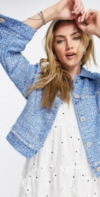 Sister Jane coordinating tweed jacket in baby blue with faux pearl buttons-Blues