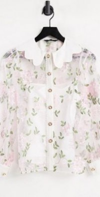 Sister Jane embroidered floral shirt in white