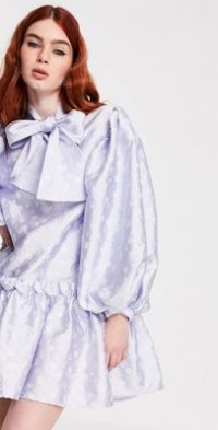Sister Jane mini smock dress with oversized bow in jacquard-Blues