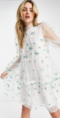 Sister Jane mini smock dress with sheer overlay and embroidered flowers-White