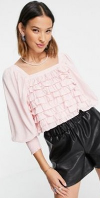 Sister Jane ruffle tier top with puff sleeves in baby pink