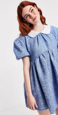 Sister Jane tweed mini dress in baby blue with white peter pan collar-Blues