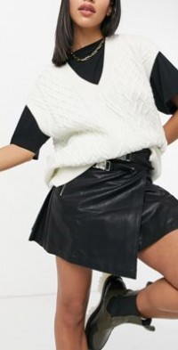 Steele Maxwell vegan leather skirt in black