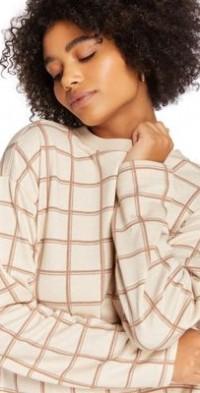 Steele plaid sweatshirt in ecru - part of a set-White