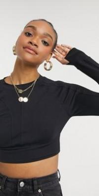 Steele seam detail slim long sleeve top in black-Blues