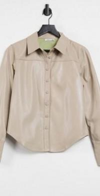 Steele Torri vegan-friendly leather button up shirt in tan-Neutral