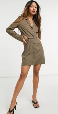 Steele Valerie snap dress in tan-Brown