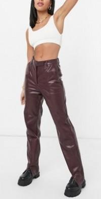 Steele vegan leather straight leg pants in brown