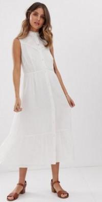 Stevie May Aralia sleeveless midi dress with lace insert-White