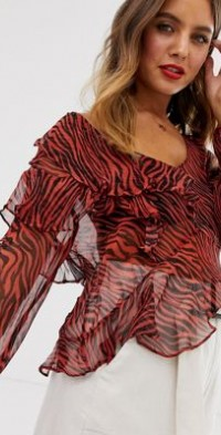 Stevie May Walk On By ruffle animal print blouse-Red