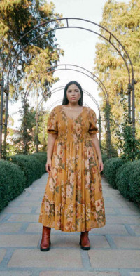 The Brooklyn Dress Extended Mustard Floral (Lined)