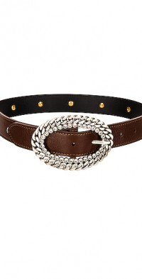 Leather Silver Chain and Crystal Buckle Belt