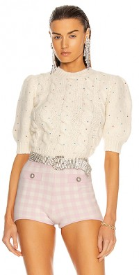 Wool Crystal Short Sleeve Sweater