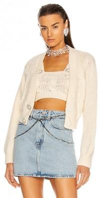 Wool Knit Cropped Cardigan