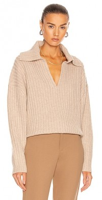 Chunky Ribbed Polo Knit Sweater