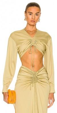 Ruched Crop Shirt