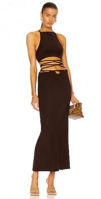 Wrapped Interlock Tie Halter Dress