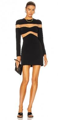 Linear Net Insert Long Sleeve Mini Dress