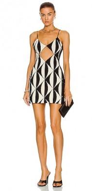 Net Insert Jacquard Mini Dress