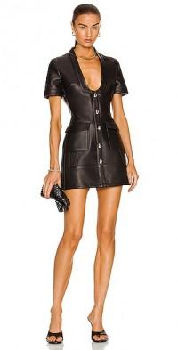 Short Sleeve Low Cut Leather Mini Dress