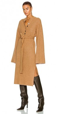Arie Ribbed Cashmere Blend Henley Midi Sweater Dress