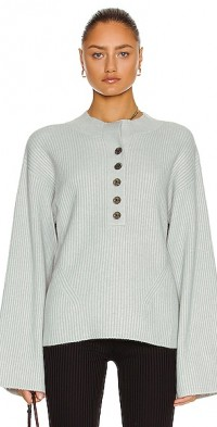 Arie Ribbed Cashmere Blend Henley Sweater