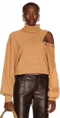 Blake Button Cashmere Blend Turtleneck Sweater