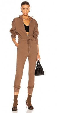 Red-Eye French Terry Zip Front Jumpsuit