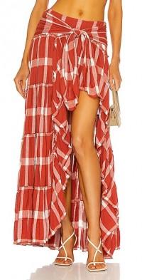 High Slit Plaid Maxi Skirt