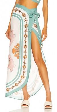 Printed Midi Sarong Skirt