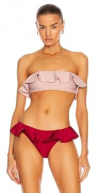 Cranbery Ruffle Bikini Top