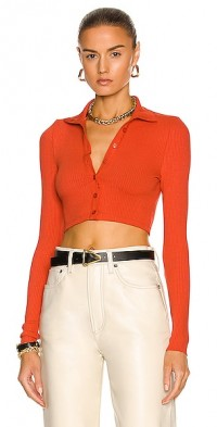 Cropped Button Turtleneck Top