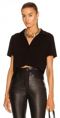 Cropped Short Sleeve Polo Top